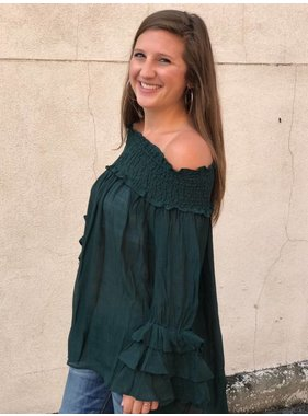 She + Sky Ruffle Off The Shoulder Top in Sea Green