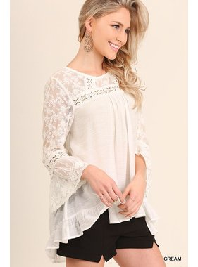 Umgee bell sleeve top with lace detail