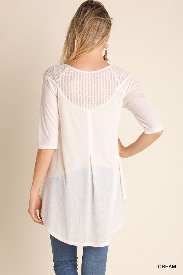 Umgee 3/4 Sleeve tunic top with mesh shoulder detail