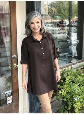 Match Point Brown Collared Button Up Tunic by Match Point