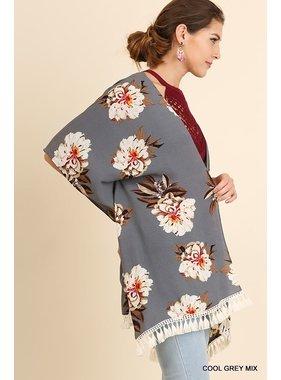 Umgee Open Front Floral Print Kimono