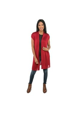 Top It Off Oivia Bamboo Duster - Garnet Red