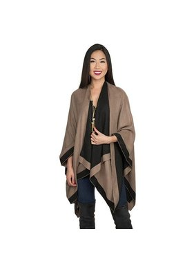 Top It Off Reversible Rachel Ruana - tan & black