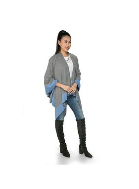 Top It Off Reversible Carolina Wrap - blue & gray