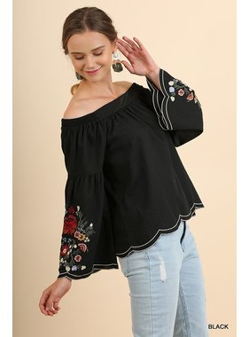 Umgee Off Shoulder Scalloped Top With Floral Embroidered Bell Sleeves