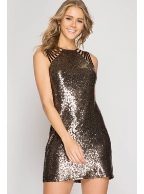 She + Sky Sleeveless sequin mini dress