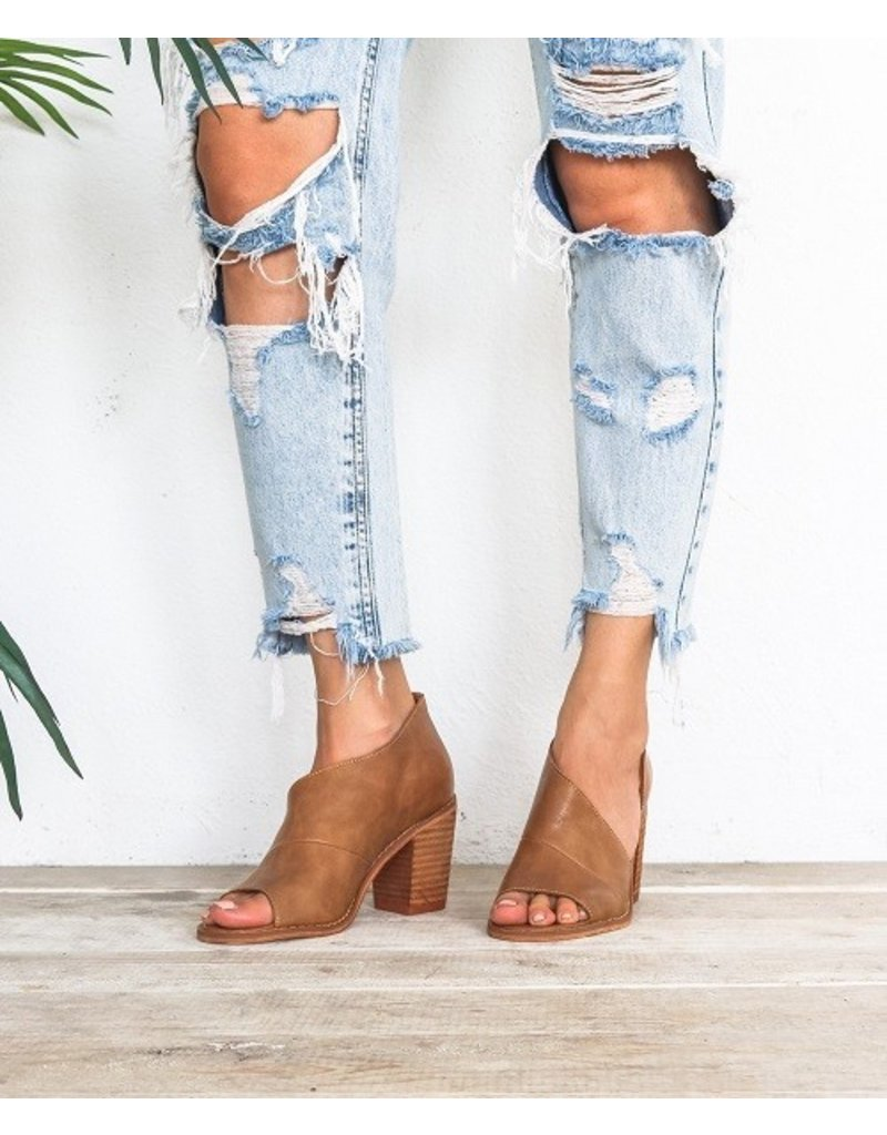 let's see style Open toe side cutout wooden heel