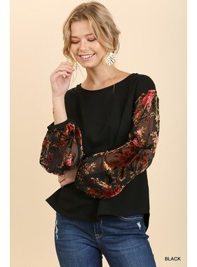 Umgee Sheer Balloon Sleeve Top With Velvet Floral Embroidery