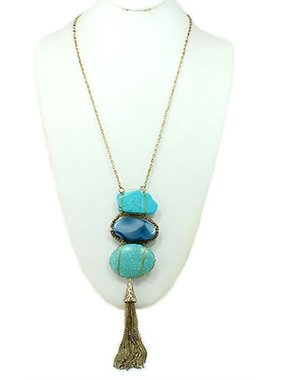 "What's Hot 24"" necklace with turquoise stone tassel"