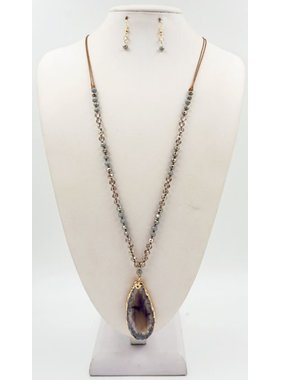 """What's Hot Grey Leather and crystal 36"""" necklace with grey agate stone"""