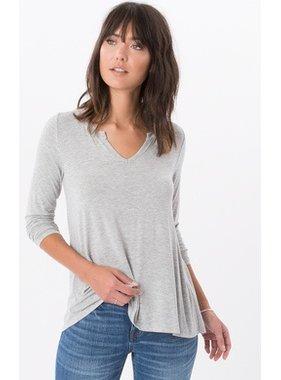 Z Supply The Sleek Jersey Split Neck long sleeve