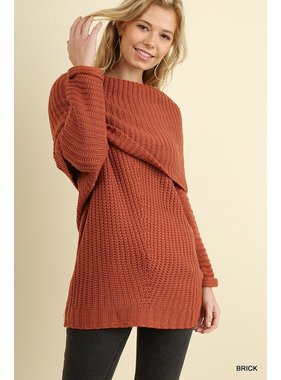 Umgee Ribbed Fold Over Sweater