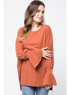 Very J Oversized ruffled sleeved top