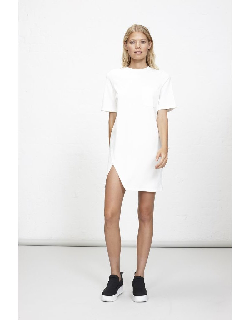House Of Quirky Splt Front Tee Dress - Off White