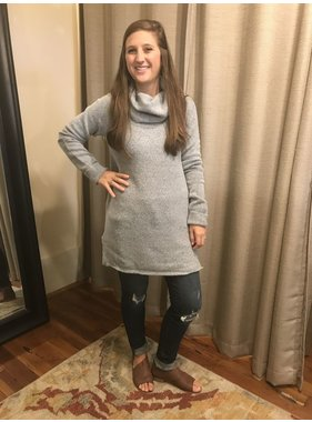 Staccato Rib Contrasted Long Sleeve Tunic Turtleneck Sweater