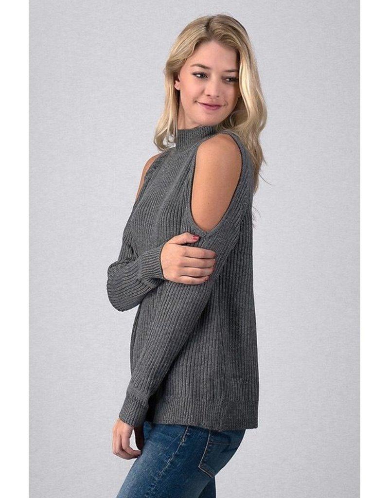 Trend:Notes Mock Neck Cold Shoulder sweater
