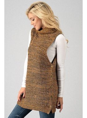 Trend:Notes Cowl Neck Sweater with side buttons