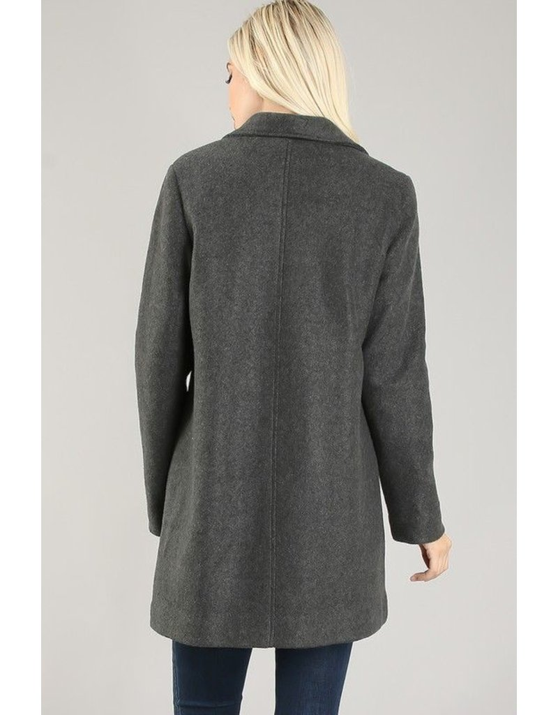La Vida Solid Collard Jacket with Lining
