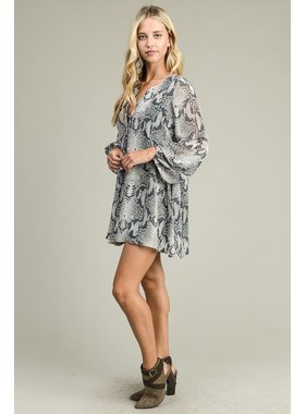 Adrienne Snake Print Open Placket Long Sleeve Tunic Dress