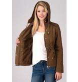 Trend:Notes Suede Binding Edge Padded Hoodie winter jacket