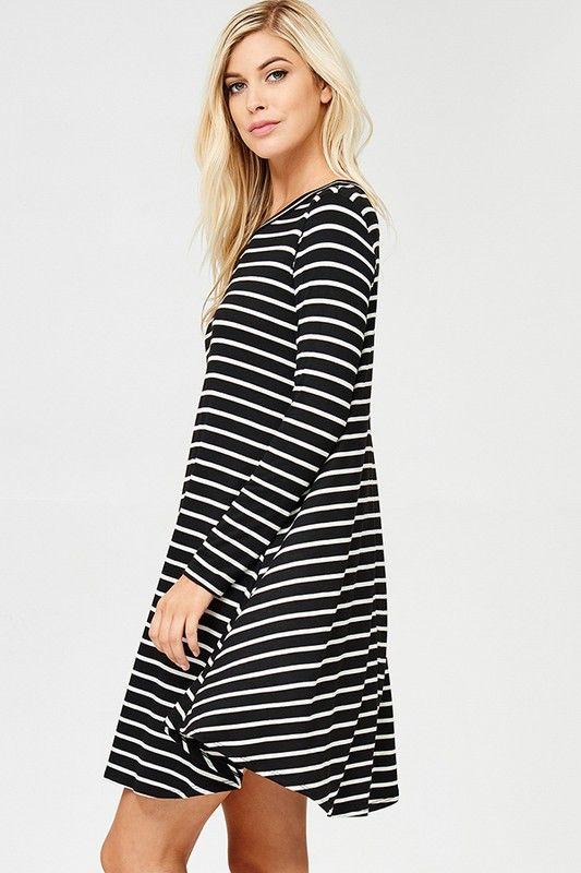 Faith Apparel Jersey Long Sleeve Stripe Tunic Dress