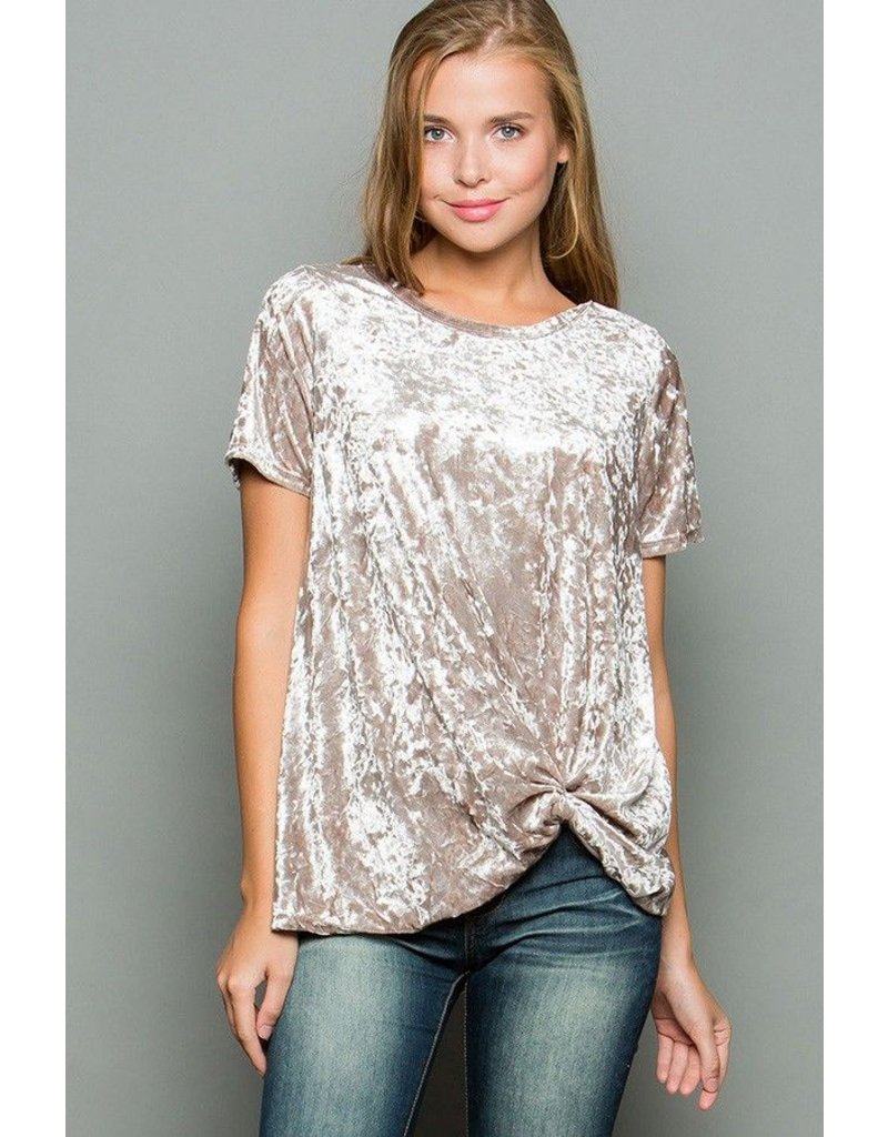 Faith Apparel Champagne Crushed Velour Knot Top