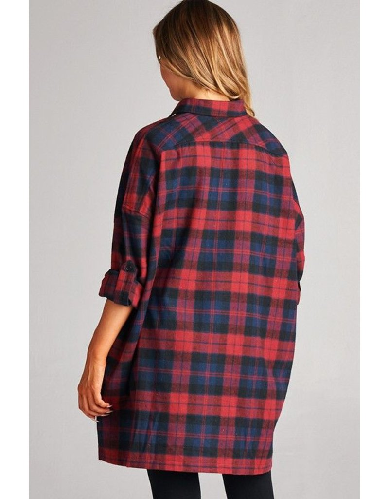Faith Apparel Plaid Oversized Flannel Shirt