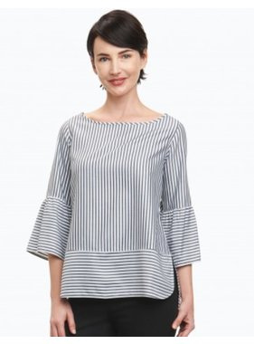 Foxcroft Rory 3/4 Sleeve Stripe Blouse by Foxcroft