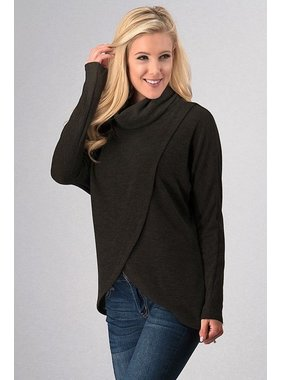 Trend:Notes Cowl Neck  front overwrap  knit tunic
