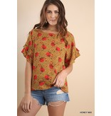Umgee Sheer Floral Print Top With Ruffle Sleeve Detail