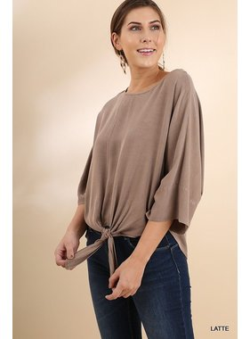 Umgee Mineral Washed 3/4 Sleeve Dolman Round Neck Top with Front Tie