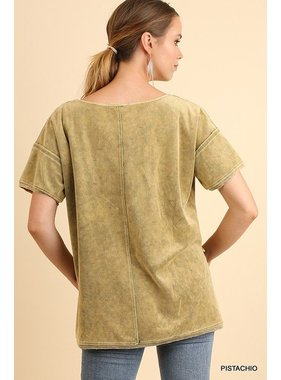 Umgee Mineral Washed Velvet Top