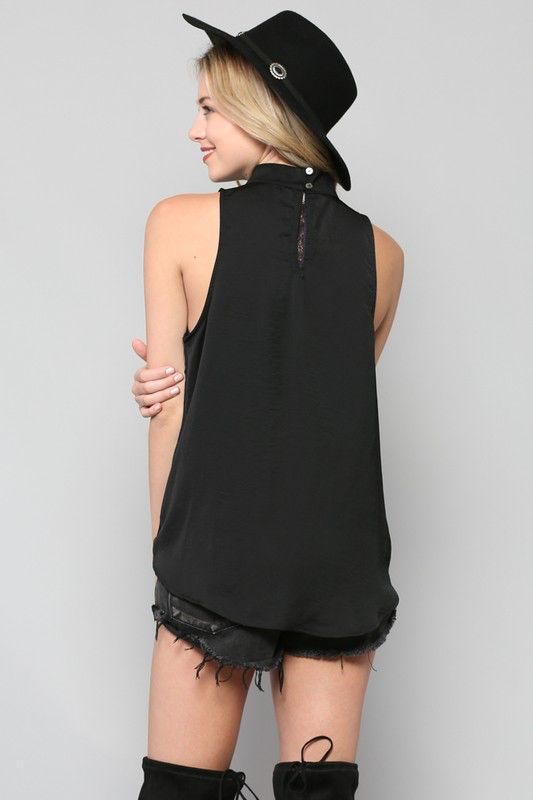 By Togeher Satin HIgh Neck Overlay Tank