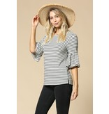 By Togeher Striped Ruffle Bell Sleeved Top