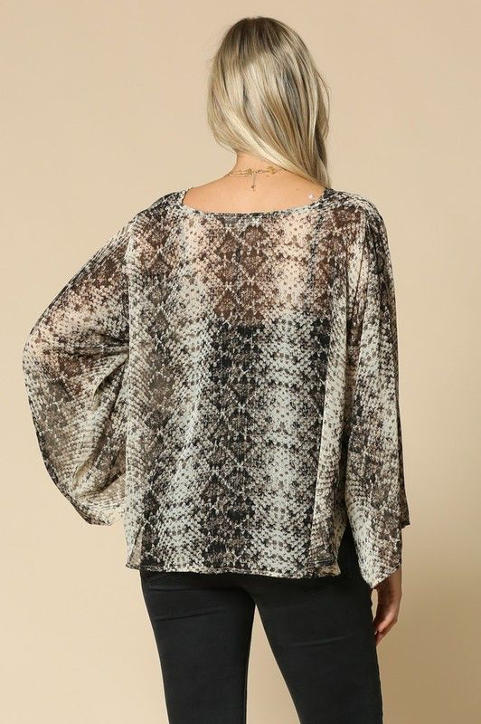 By Togeher Snake Print Chiffon Front Tie Cardigan