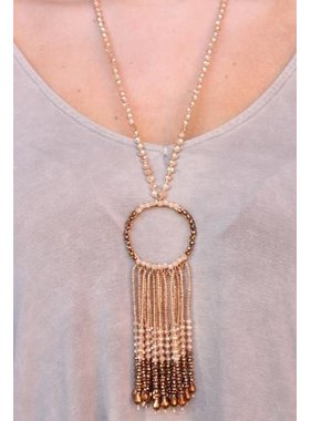 Caroline Hill Chavez Glass Beaded Necklace with beaded ring & tassel