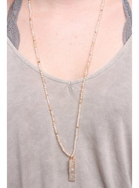 Caroline Hill Nassar Glass Bead Necklace with Rectangle Druzy Drop