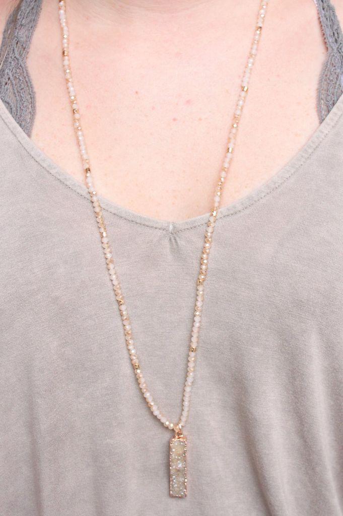 Caroline Hill Nassar Glass Bead Necklace with Rectangle Druzy Drop