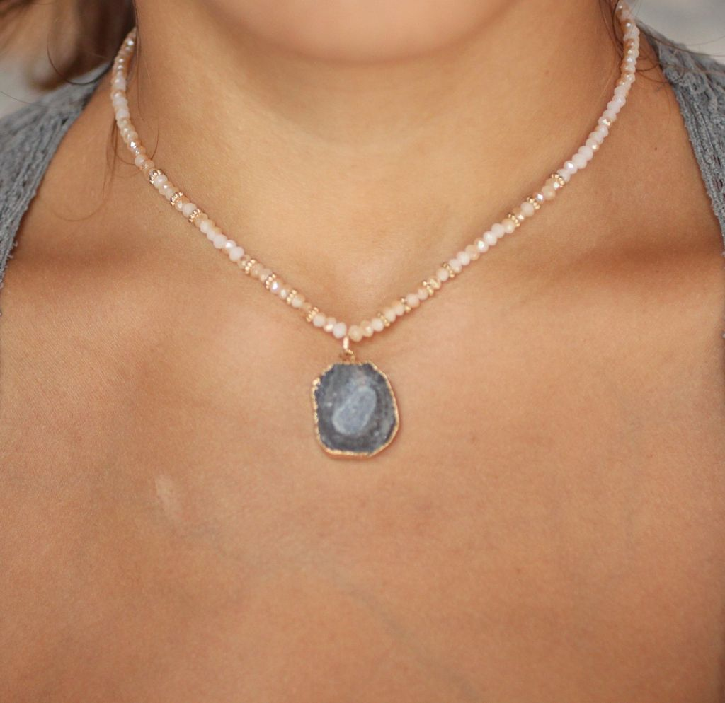 Caroline Hill Lee Van 14 Glass Beaded Necklace with small druzy pendant