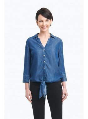 """Foxcroft """"Roma"""" Blouse in Solid Tencel by Foxcroft"""