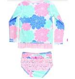 Ruffle Butts Pastel Petals Long Sleeve Rash Guard Bikini