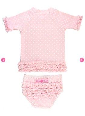 Ruffle Butts Pink Polka Dot Ruffled Rash Guard Bikini