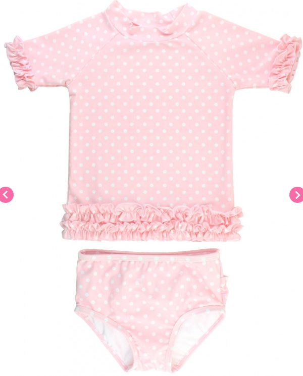 Ruffle Butts Pink Polka Dot Ruffled Rash Guard Bikini