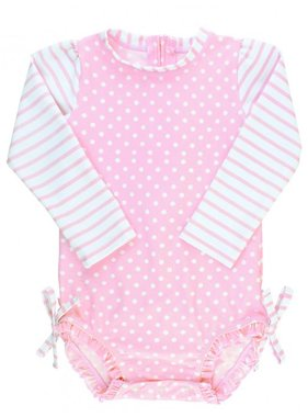 Ruffle Butts Pink Polka Dot One Piece Rash Guard