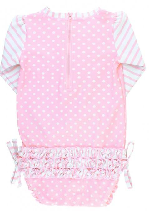 Ruffle Butts Pink Polka Dot One Piece Rash Guard