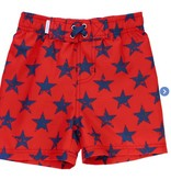 Ruffle Butts Red Super Star Swim Trunks