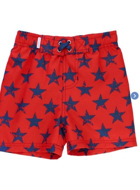Ruffle Butts Red Super Star Swim Trunks