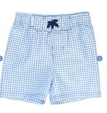 Ruffle Butts Cornflower Blue Gingham Swim Trunks