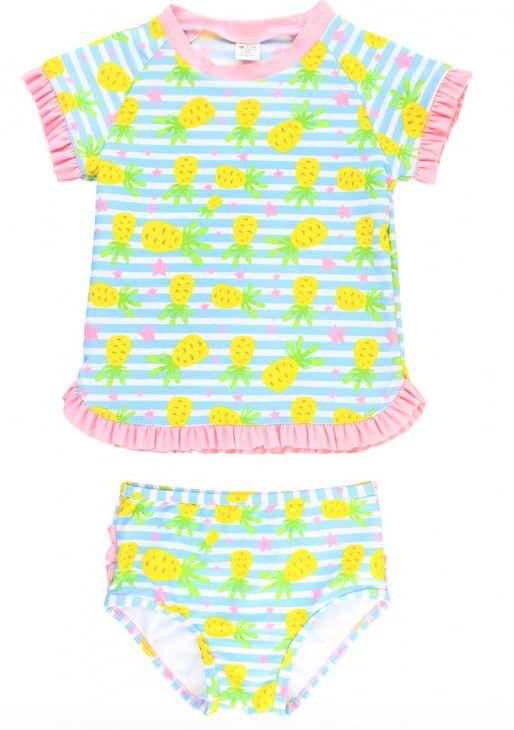 Ruffle Butts Pineapple Paradise Rash Guard Bikini