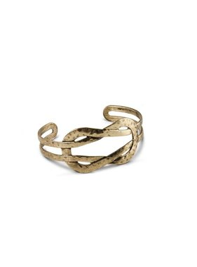 K&K Interiors Gold Hammer Twisted Cuff Bracelet